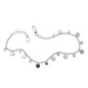 Dangling Circle Charm Ankle Bracelet in Sterling Silver 25cm