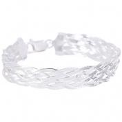 PORI Jewellers Italian Sterling Silver 7-Row Braided Bracelet, 19cm