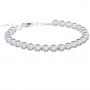 "PORI Jewellers Italian Sterling Silver Polished Plain 6mm Ball Handmade Bracelet, 7.5"" with 1"" Extender"