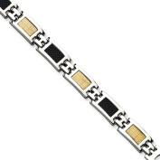 Stainless Steel 14k Gold Filled Accent & Carbon Fibre 20cm Bracelet