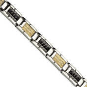 Stainless Steel Black IP-plated Wire and 14K 22cm Bracelet