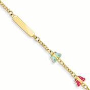14k 15cm Polished Enamelled Butterflies Baby/Child ID Bracelet