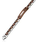 Stainless Steel Chocolate IP-plated w/Diamond 22cm Bracelet