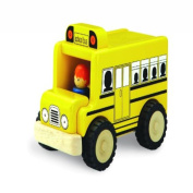 Wonderworld Unique Design Mini Toy Yellow - Imaginative Play Toy School Bus, Real Rubber Tyres + Bonus Driver Included