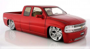 Chevy Silverado Pickup Truck, Red - Jada Toys Dub City 63112 - 1/18 scale Diecast Model Toy Car
