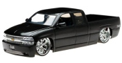 Chevy Silverado Pickup Truck, Black - Jada Toys Dub City 63112 - 1/18 scale Diecast Model Toy Car