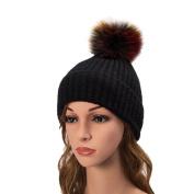 Jaminy Women Fur Poms Crochet Knitted CC Cap Beanie Hat