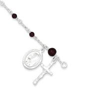 Sterling Silver & Rhodolite Garnet Polished Children's Rosary Bracelet