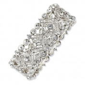 Silver-tone Clear Crystals Stretch Bracelet