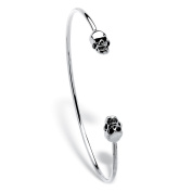 Polished Twin Skulls Cuff Bangle Bracelet Platinum-Plated 19cm