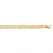14K Yellow White Gold Railroad Men's Bracelet Fancy Lobster Clasp 22cm 16 gramme