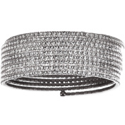 X & O Handset Austrian Crystal White Rhodium-Plated 9-Row Wire Bangle, One Size