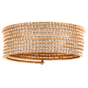 X & O Handset Austrian Crystal Yellow Gold-Plated 9-Row Wire Bangle, One Size