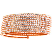 X & O Handset Austrian Crystal Rose Gold-Plated 9-Row Wire Bangle, One Size