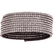X & O Handset Austrian Crystal Black Rhodium-Plated 9-Row Wire Bangle, One Size