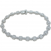 Plutus Brands Round-Cut CZ Sterling Silver High-Polish Antique Style Bracelet