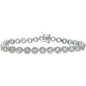 Plutus Brands Round-Cut CZ Sterling Silver High-Polish Bracelet