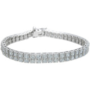 Plutus Brands Round-Cut CZ Sterling Silver High-Polish Tennis Bracelet