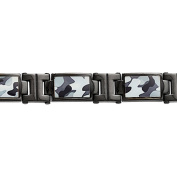 Primal Steel Stainless Steel Polished Black IP-Plated Camoflage Bracelet, 22cm