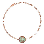 5th & Main Rose Gold over Sterling Silver Hand-Wrapped Single Round Chalcedony Stone Bracelet