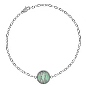 5th & Main Sterling Silver Hand-Wrapped Single Round Chalcedony Stone Bracelet