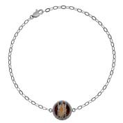 5th & Main Sterling Silver Hand-Wrapped Single Round Smokey Quartz Stone Bracelet