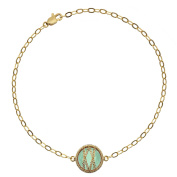 5th & Main 18kt Gold over Sterling Silver Hand-Wrapped Single Round Chalcedony Stone Bracelet