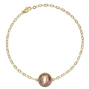 5th & Main 18kt Gold over Sterling Silver Hand-Wrapped Single Round Amethyst Stone Bracelet