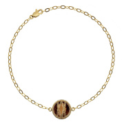 5th & Main 18kt Gold over Sterling Silver Hand-Wrapped Single Round Smokey Quartz Stone Bracelet