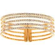 X & O Handset Austrian Crystal Yellow Gold-Plated 5-Row Gap Bangle, One Size