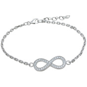 Plutus Round-Cut CZ Sterling Silver High-Polish Infinity Bracelet