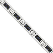 Primal Steel CZ Stainless Steel Polished Blue Carbon Fibre Inlay Bracelet