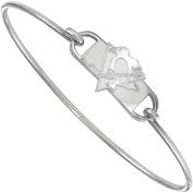 LogoArt NHL Pittsburgh Penguins Sterling Silver Wire Bangle Bracelet