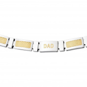 Primal Steel CZ Accent Stainless Steel Yellow IP-Plated Link Polished Dad Bracelet, 22cm