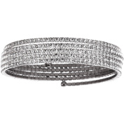 X & O Handset Austrian Crystal White Rhodium-Plated 5-Row Wire Bangle, One Size