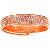 X & O Handset Austrian Crystal Rose Gold-Plated 5-Row Wire Bangle, One Size