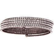 X & O Handset Austrian Crystal Black Rhodium-Plated 5-Row Wire Bangle, One Size