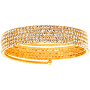 X & O Handset Austrian Crystal Yellow Gold-Plated 5-Row Wire Bangle, One Size