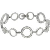 Brinley Co. Women's CZ Sterling Silver Circle Link Bracelet, 18cm
