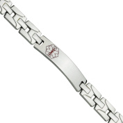 Primal Steel Stainless Steel Brushed and Polished Red Enamel Medical Bracelet, 20cm