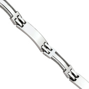 Primal Steel Stainless Steel Wire Polished Bracelet, 22cm