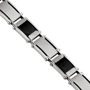 Primal Steel Stainless Steel Brushed and Polished Black Carbon Fibre Inlay Bracelet, 22cm