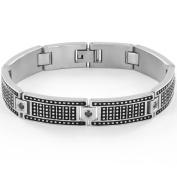 Crucible Stainless Steel Black-Plate Black CZ Studded Bracelet