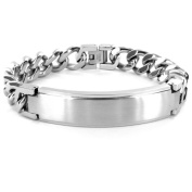 """Crucible Stainless Steel ID Bracelet with Curb Chain, 9"""", 14mm"""