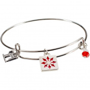 Charming Accents Adjustable Charm Bangle, 19cm , Red Quilt Block