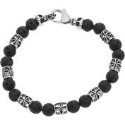 Reinforcements Oxidised Stainless Steel Skull and Textured Bead Bracelet