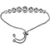 TRULY INSPIRED SILVER PLATED CLEAR CRYSTAL ADJUSTABLE BRACELET