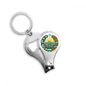 Uzbekistan Asia National Emblem Metal Key Chain Ring Multi-function Nail Clippers Bottle Opener Car Keychain Best Charm Gift