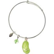 Rhodium Light Green Enamel Jelly Bean Bangle Bracelet