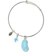Rhodium Blue Enamel Jelly Bean Bangle Bracelet